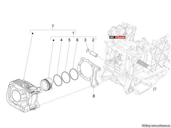 Vespa 946 Einheit Zylinder-Kolben-Kolbenbolzen