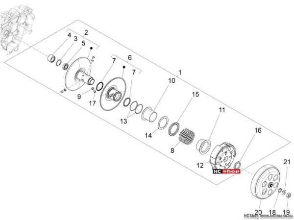 Vespa 946 Getriebene riemenscheeiben