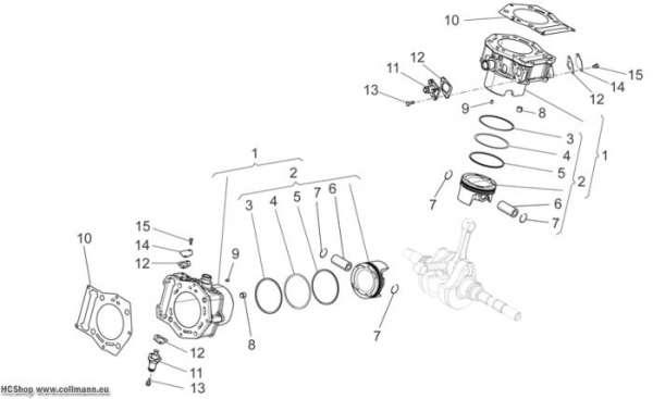 Aprilia  Zylinder - Kolben NA Mana 850