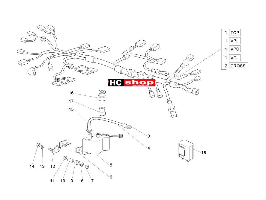 piaggio ape 50 2t elektrische anlage hauptkabelbaum. Black Bedroom Furniture Sets. Home Design Ideas