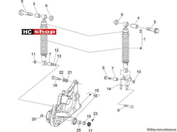 Piaggio Hintere Radaufhängung - Stoßdämpfer X9 250