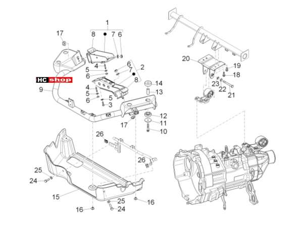 Porter Maxxi Benzin Multitech E4 - E5 - E5+ - Fahrgestell Motorhalterung