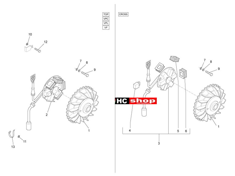 piaggio ape 50 2t motor lichtmaschine ape 50 ape. Black Bedroom Furniture Sets. Home Design Ideas
