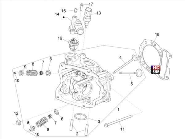 Vespa GTS 300 hpe E5 Motor Einheit Kopf - Ventil