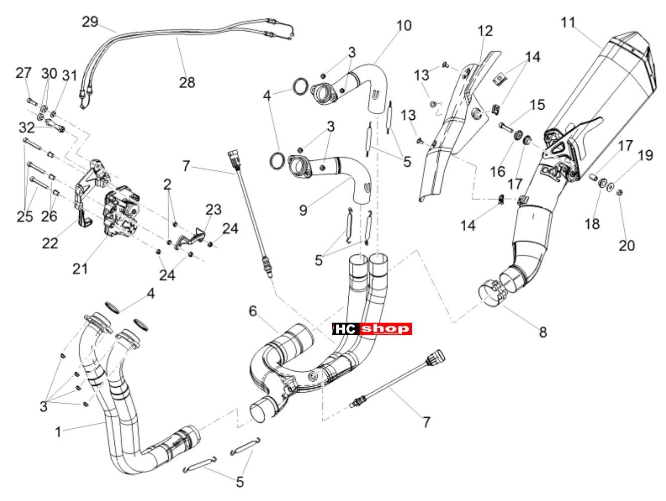 Aprilia Tuono V4 1100 Factory E4 ABS Rahmen u. Aufbau Auspuff ...
