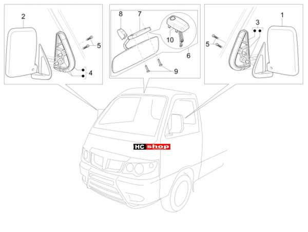 Porter Maxxi Benzin Multitech E4 - E5 - E5+ - Fahrgestell Rückspiegel
